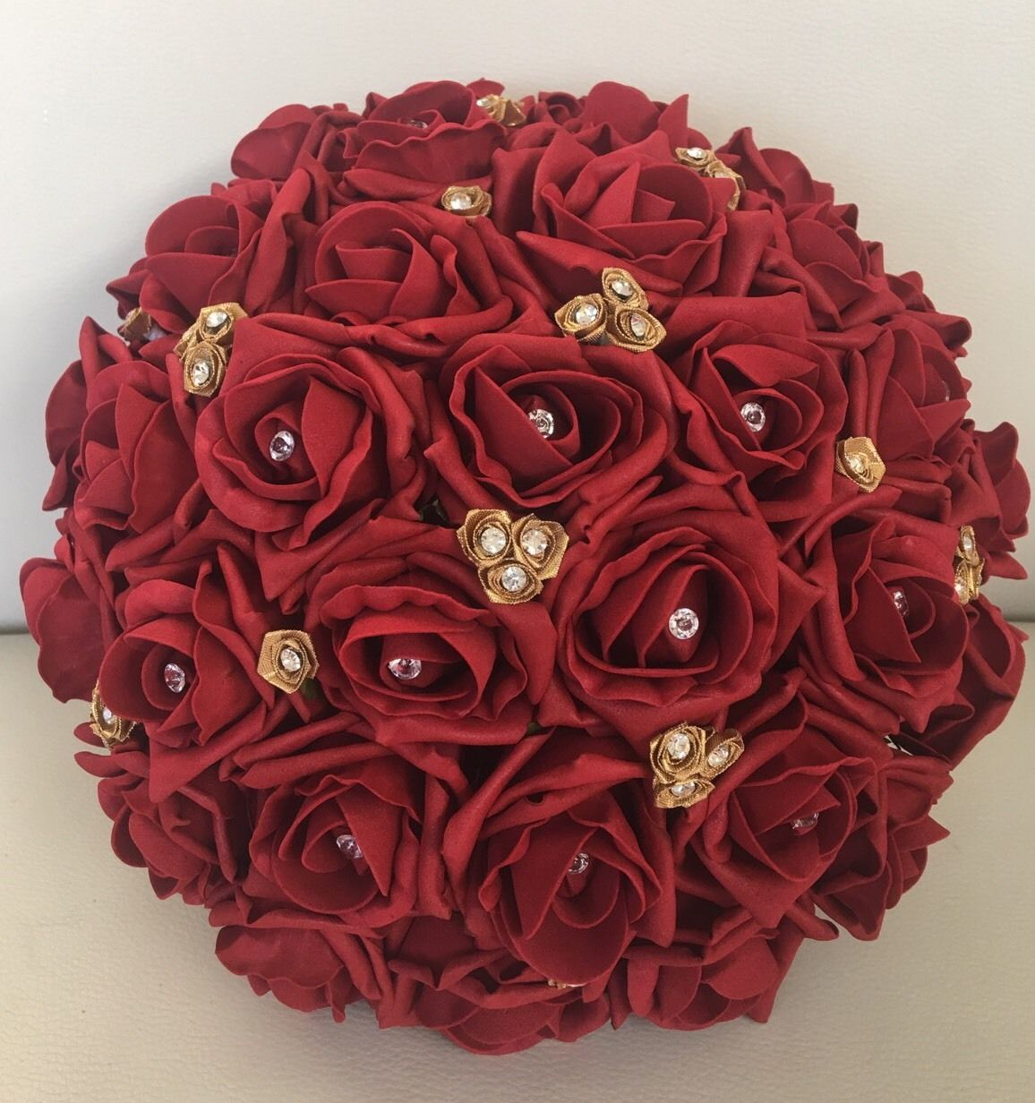BRIDE ARTIFICIAL WEDDING FLOWERS RUBY RED GOLD FOAM ROSE